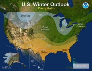 NOAA winter 2016/2017 precipitation outlook.